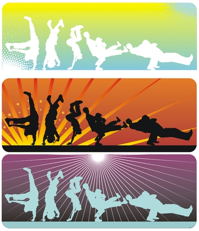 Guys dancing a break on different color background Çizim