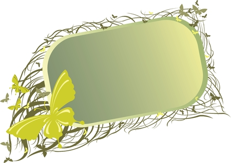 Green and yellow banner with butterfly Illustration