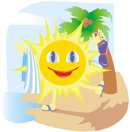 Funny sun in the beach Vector
