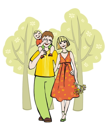 strolling: Family strolling in the park Illustration