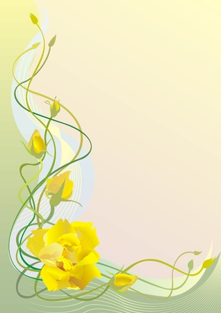 Floral framework with yellow rose
