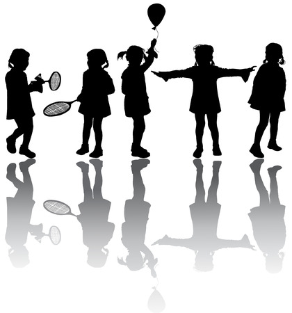 Kids silhouettes Stock Vector - 6192144