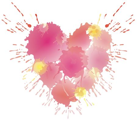 aquarell: Water coloured heart Stock Photo