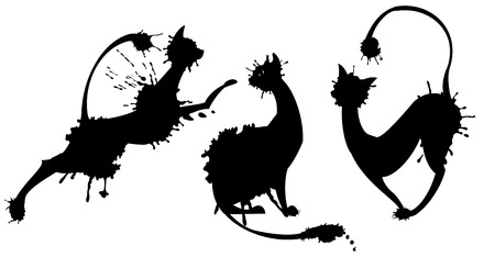 silhouete: Cat-shaped blot on white background