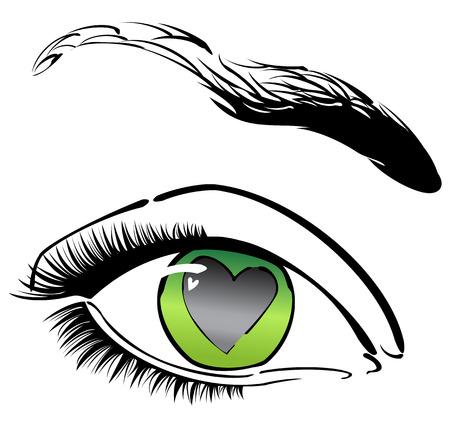 Green eye with heart Stock Vector - 6259704