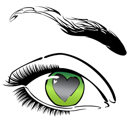 Green eye with heart Stock Vector - 6259704