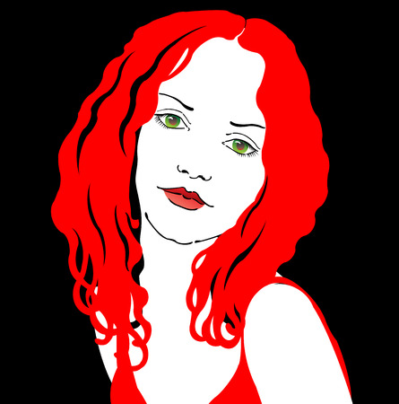 lady in red on black background Illustration