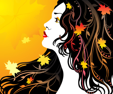 cute girl with long hair: Autumn girl Illustration