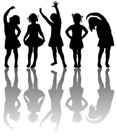 Silhouette der kleinen Mädchen beteiligt Aerobic
