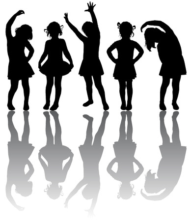 Silhouette of small girls engaged in aerobics Illustration