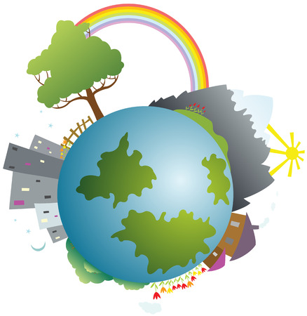 Colored little planet Earth Vector