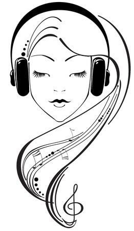 Preciosa niña escuchar auriculares Ilustración de vector
