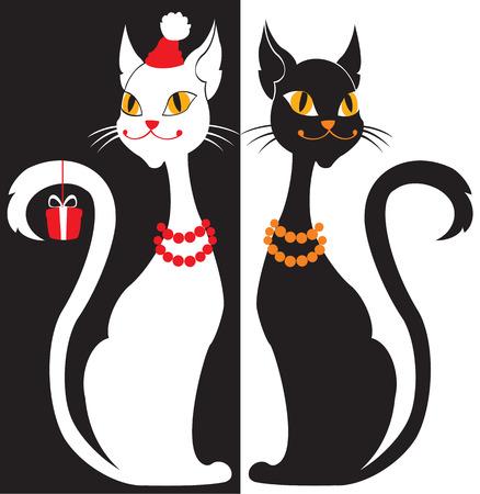 silueta de gato: Blanco y negro