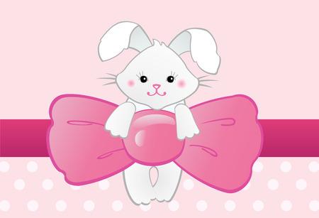 bunny xmas: Rabbit with bow Illustration