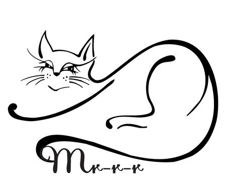 silueta de gato: Gato agraciado