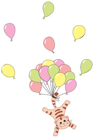 Funny cat with baloons Vector