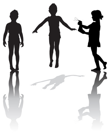 beings: Silhouette of small girls