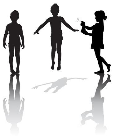 Silhouette von kleinen Mädchen Illustration