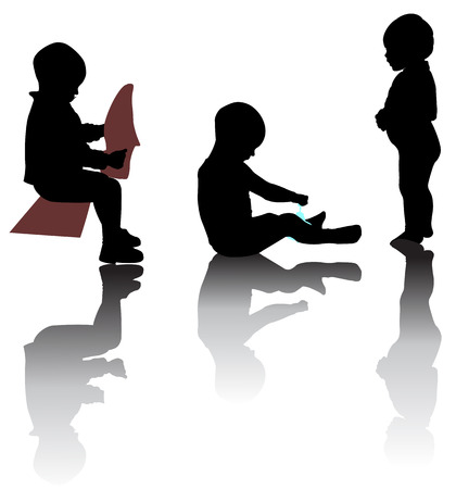 play time: Silhouettes of small kids