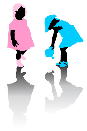 Silhouette of small girls
