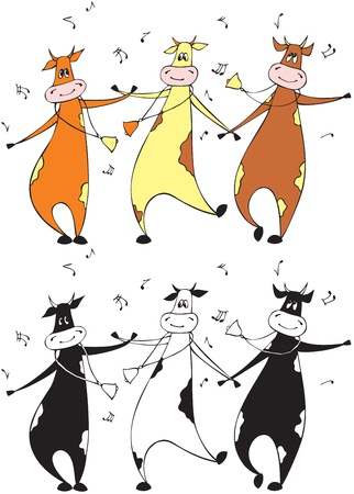 Dancing cows Stock Vector - 12144867