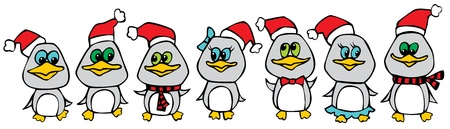 Funny christmas penguins Vector
