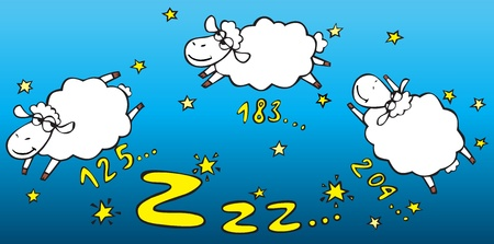 sheep cartoon: Counting sheep Illustration