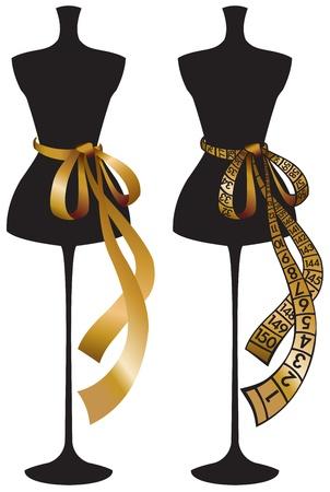 Mannequin noir avec du ruban centimétrique d'or