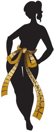 Silhouette der Frau mit Klebeband centimetric