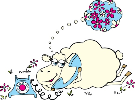Sheep with telephone Ilustrace