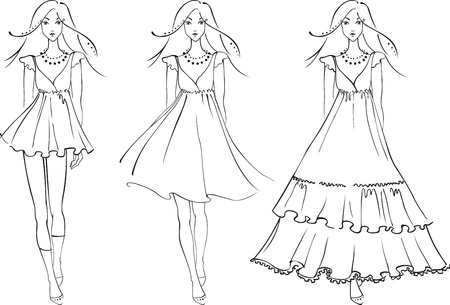 Sketch of fashion women in dresses Vector