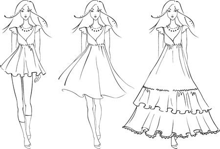 Skizze der Mode Frauen in Kleidern Illustration