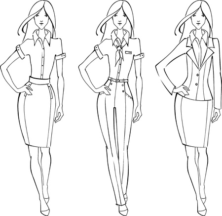 skirt suit: Sketch of businesswoman