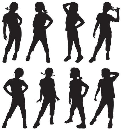 Silhouetten von Mädchen Illustration