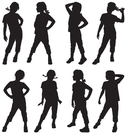 silhouettes: Silhouettes of girls