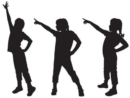 kind silhouet: Drie silhouetten van de meisjes