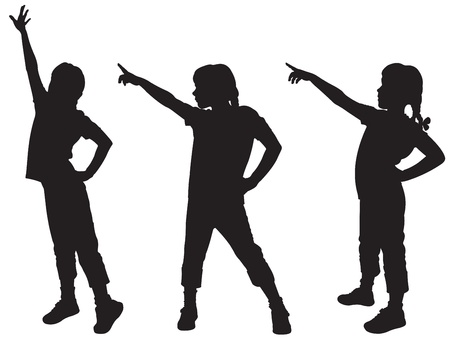 Three silhouettes of girls Vector