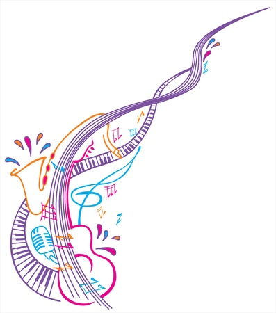 musical notes: Colored abstract musical composition Illustration