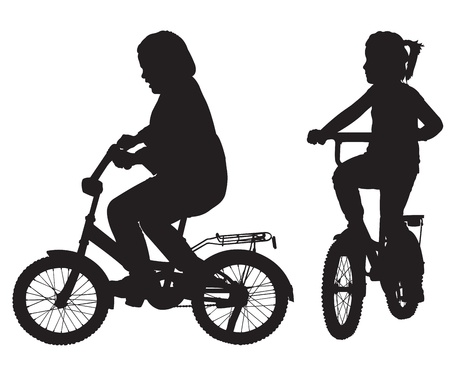 people travelling: Two silhouettes of girl on the bicycle Illustration