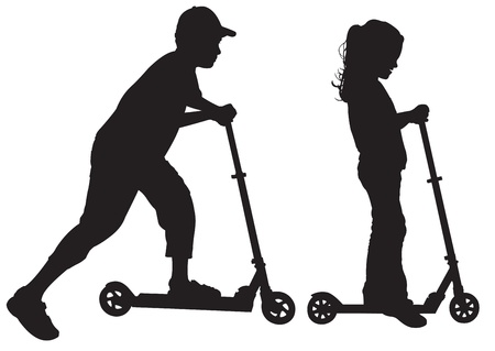people travelling: Silhouettes of children on scooter