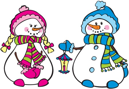 Cute snowmen Stock Vector - 17035087