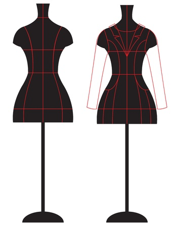 couture: Dummy with cut lines Illustration
