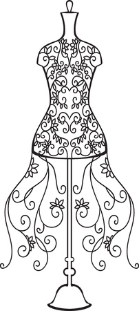 dummies: Elegant dummy with floral ornament Illustration