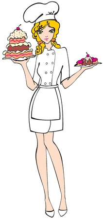 Chica chef con tarta y pasteles