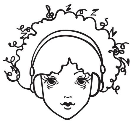 Girl listening to music Vector