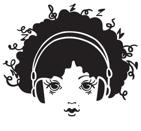 earbud: Muchacha que escucha la m�sica Vectores