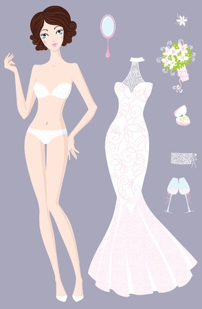 Beautiful girl with wedding dress and accessories Stock Vector - 18542507