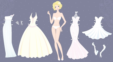Paper doll of cute girl with wedding dresses 矢量图像