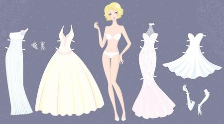 Paper doll von niedlichen Mädchen mit Brautkleidern