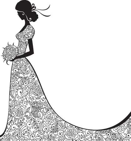 Wedding background with bride in floral dress Illustration
